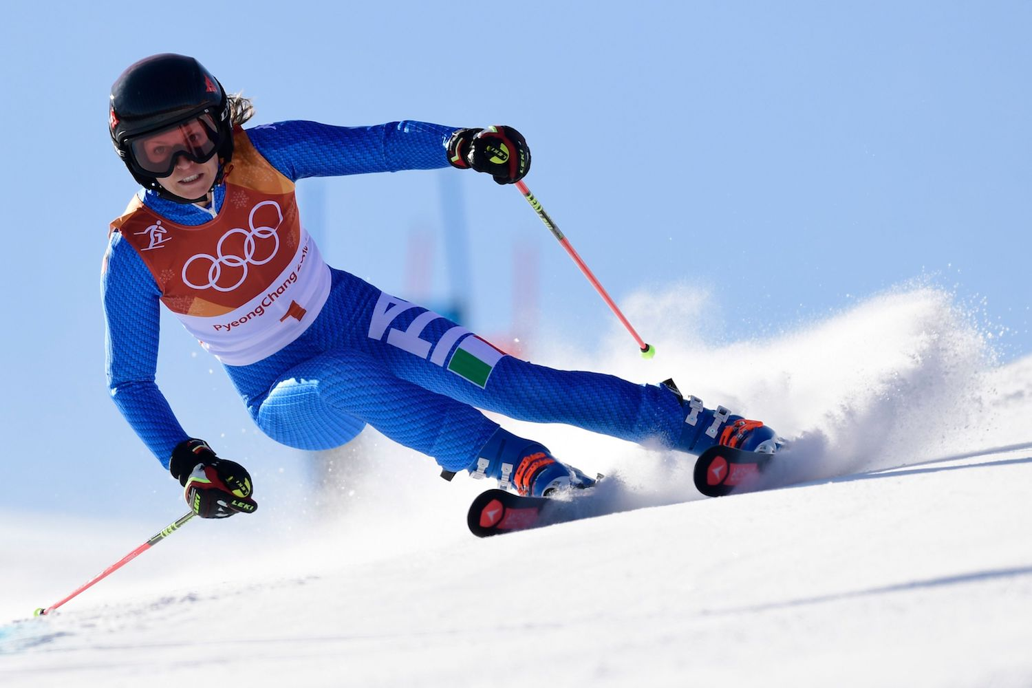 TOPSHOT - Italy's Manuela Moelgg competes in the Women's Giant Slalom at the Yongpyong Alpine Centre during the Pyeongchang 2018 Winter Olympic Games in Pyeongchang on February 15, 2018. / AFP PHOTO / JAVIER SORIANO        (Photo credit should read JAVIER SORIANO/AFP/Getty Images)