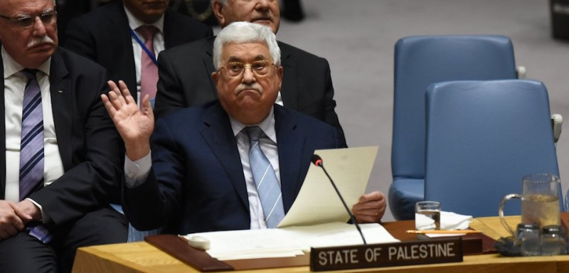 Palestinian leader Mahmoud Abbas speaks at the U.N. Security Council in New York on Feb. 20.  (Timothy A. Clary/AFP/Getty Images)