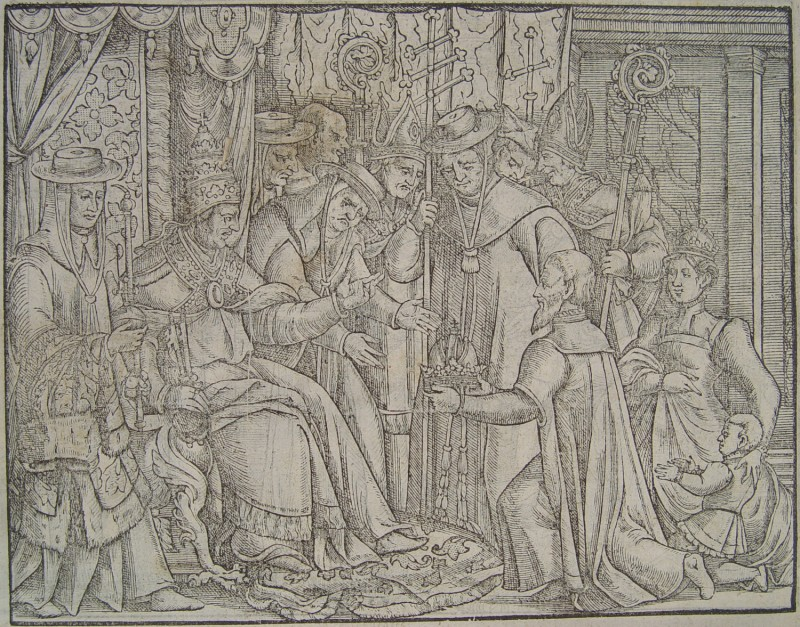 Henry IV, king of the Germans, surrenders his crown to Pope Gregory VII, who sits enthroned. (Woodcut by John Foxe/Rare Books and Manuscripts Library/Ohio State University Libraries/Wikimedia Commons)