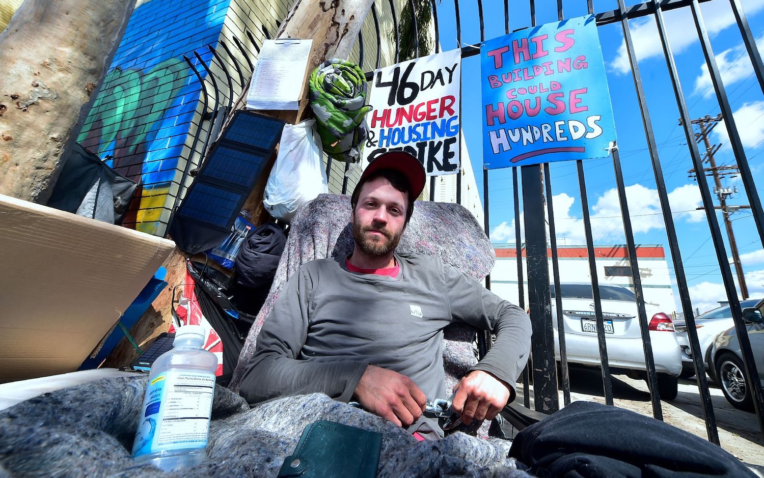 Kaleb Havens, a Catholic worker, continues his Lent hunger strike in the skid row section of Los Angeles on Feb. 22. (Frederic J. Brown/AFP/Getty Images)