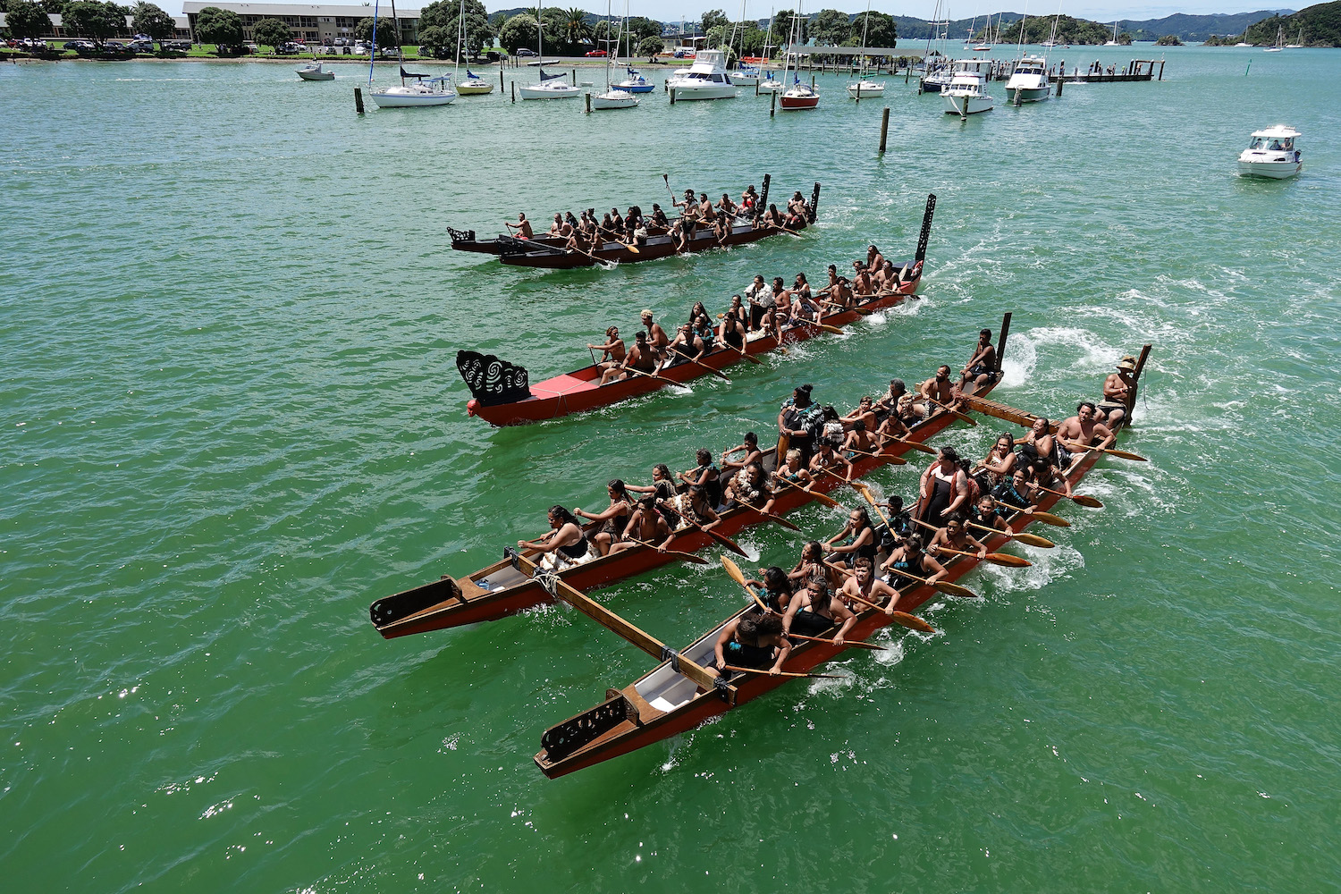 WAITANGI, NEW ZEALAND - FEBRUARY 06:  A fleet of Waka make their way around Te Ti Bay on February 6, 2018 in Waitangi, New Zealand. The Waitangi Day national holiday celebrates the signing of the treaty of Waitangi on February 6, 1840 by Maori chiefs and the British Crown, that granted the Maori people the rights of British Citizens and ownership of their lands and other properties.  (Photo by Phil Walter/Getty Images)