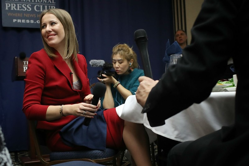 Ksenia Sobchak at the National Press Club in Washington, D.C. on Feb. 6, 2018. (Win McNamee/Getty Images)