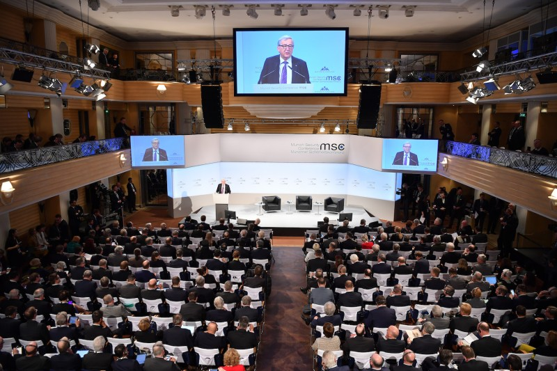 Jean-Claude Juncker, president of the European Commission delivers a speech at the 2018 Munich Security Conference on Feb. 17, in Munich, Germany. (Sebastian Widmann/Getty Images)