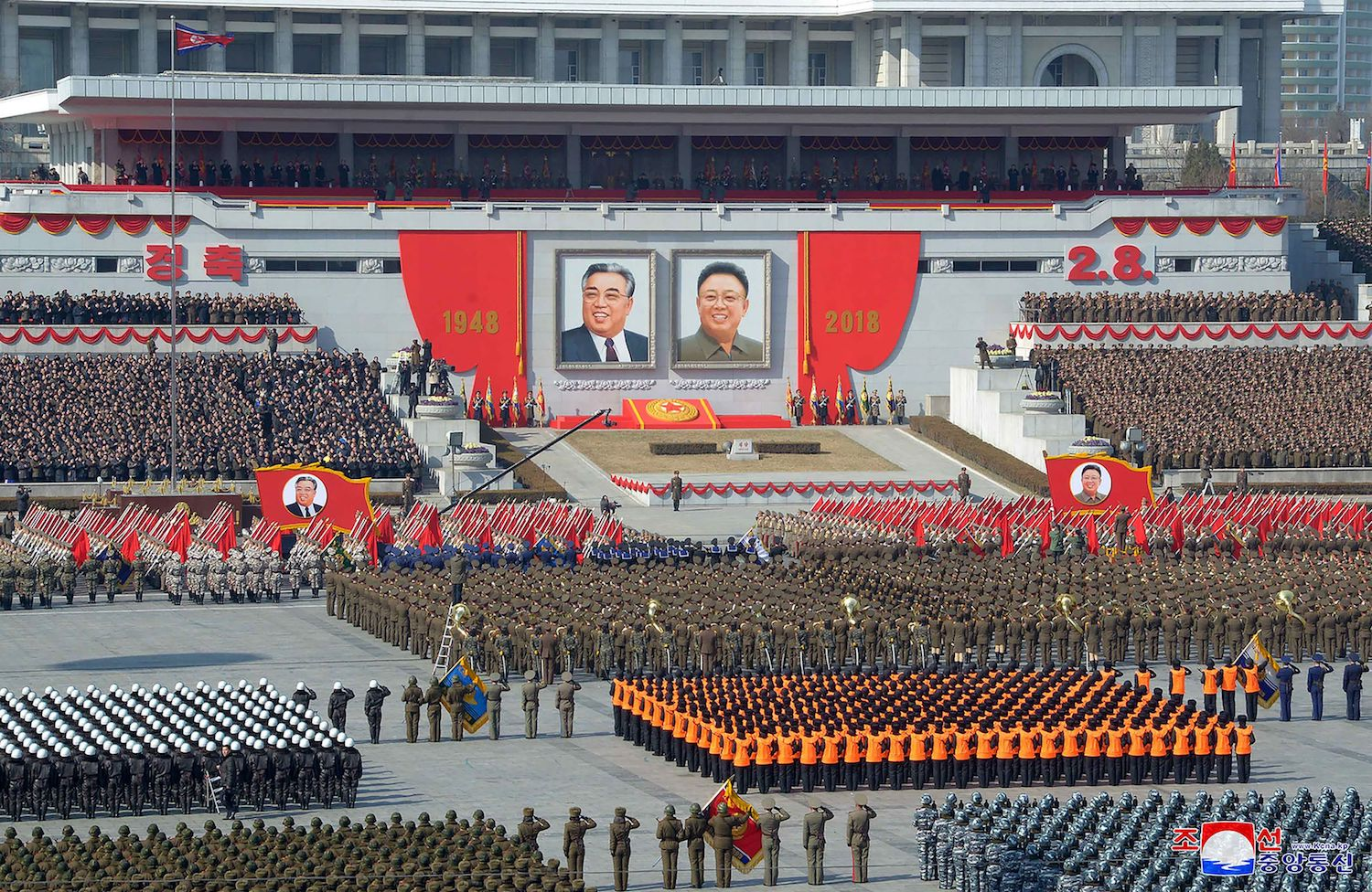 A military parade to marking the 70th anniversary of the Korean People's Army at Kim Il Sung Square in Pyongyang on Feb. 8, 2018. (Korean Central News Agency)