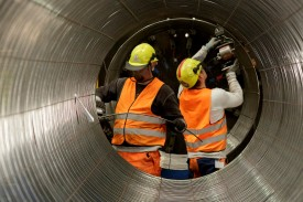 Workers building pipes in the production hall at the Nord Stream 2 facility at Mukran on Ruegen Islandon  in Sassnitz, Germany on Oct. 19, 2017. (Carsten Koall/Getty Images)