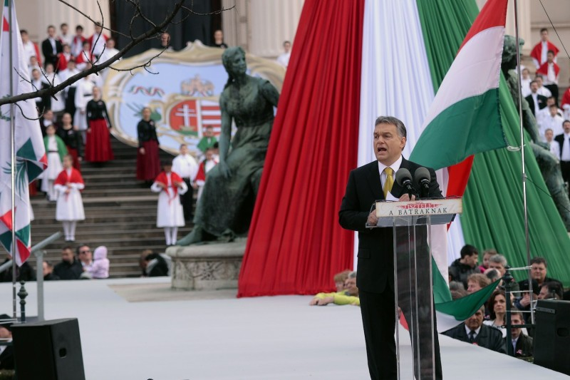 Hungarian Prime Minister Viktor Orban delivers a speech in front of the National Museum of Budapest on March 15, 2015.