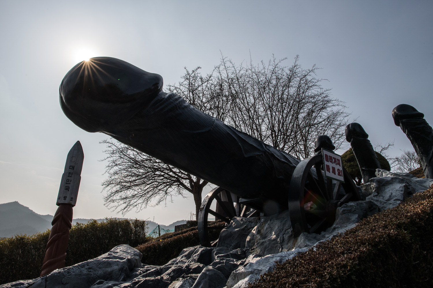 Phallic statues are displayed in Haesindang Park, informally known as 'Penis Park', on in Samcheok, South Korea Feb. 23. (Photo by Carl Court/Getty Images)