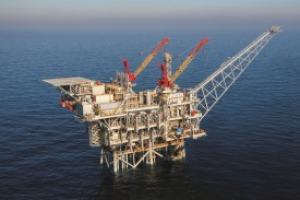 An oil rig in the Tamar field off Israel's coast in 2013. It was the first major find in the Eastern Mediterranean and will supply natural gas for export to Egypt. (Noble Energy)