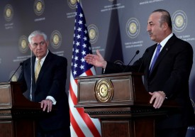 Turkish Foreign Minister Mevlut Cavusoglu and U.S. Secretary of State Rex Tillerson speak in a press conference in Ankara, Turkey on Feb. 16, 2018. (Adem Altan/AFP/Getty Images)