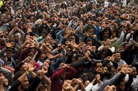 Asylum seekers in a demo against the deportations to Rwanda in from of Rwanda embassy in Herzelia