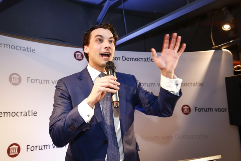 Thierry Baudet, the leader of the Forum voor Democratie (FvD) party, reacts during election night in Amsterdam, on March 15, 2017.