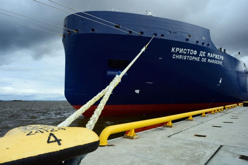 One of Russia's new icebreaking LNG tankers that are opening up the Arctic to energy shipments, Jun. 3, 2017. (Olga Maltseva/AFP/Getty Images)