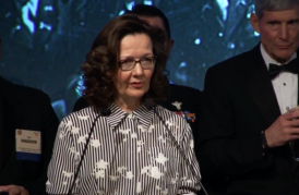 Then-Deputy CIA Director Gina Haspel speaks at the Office of Strategic Services Society's annual William J. Donovan Award Dinner in 2017. (YouTube/The OSS Society)