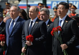 Russian President Vladimir Putin, President of the People's Republic of China Xi Jinping, and President of Kazakhstan Nursultan Nazarbayev on May 9, 2015 in Moscow, Russia. (RIA Novosti via Getty Images)