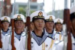 China's Peoples' Liberation Army Navy (PLAN) sailors march in Hong Kong on July 1, 2015. (Isaac Lawrence/AFP/Getty Images)