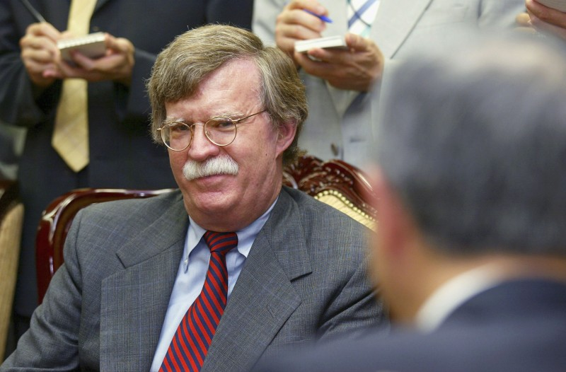 John Bolton talks with Ban Ki-moon at the South Korean Foreign Ministry in Seoul on July 20, 2004. (Chung Sung-Jun/Getty Images)