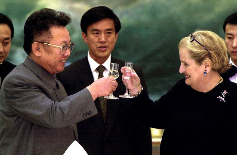 Then-North Korean leader Kim Jong Il meets then-U.S. Secretary of State Madeleine Albright during her visit to Pyongyang on Oct. 24, 2000.  (Photo credit: Chien-min Chung/AFP/Getty Images)