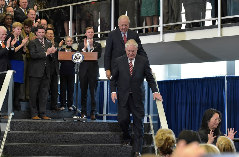 Rex Tillerson departs after speaking to employees at the State Department in Washington, D.C. on Feb. 2, 2017.  (MANDEL NGAN/AFP/Getty Images)