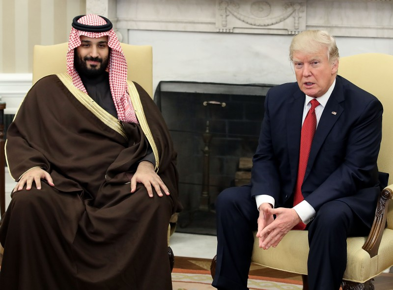 Donald Trump meets with Mohammed bin Salman of Saudi Arabia, in the Oval Office at the White House, March 14, 2017. (Mark Wilson/Getty Images)