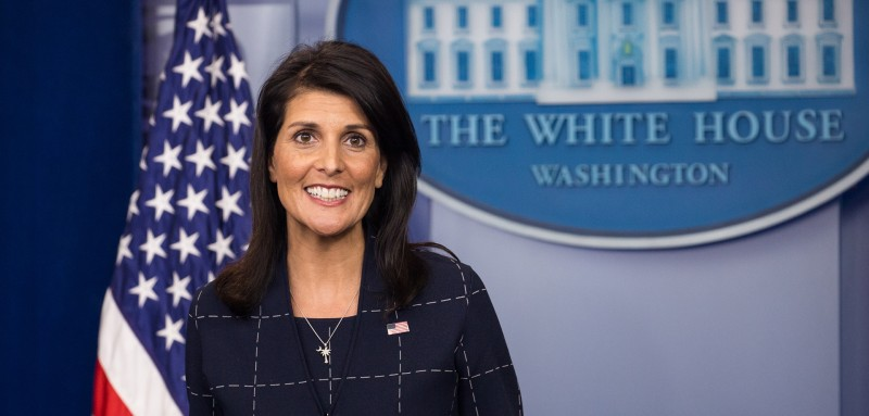 Nikki Haley, the U.S. ambassador to the United Nations, answers questions from reporters at a White House press briefing on April 24, 2017. (Photo by Cheriss May/NurPhoto via Getty Images)
