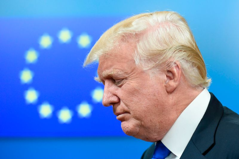 U.S. President Donald Trump leaves after a meeting with EU officials in Brussels on May 25, 2017. (THIERRY CHARLIER/AFP/Getty Images)