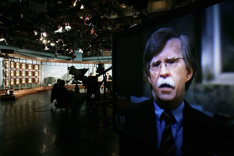 "John Bolton appears on a TV monitor as he speaks on ""Meet the Press"" in Washington on Oct. 15, 2006. (Alex Wong/Getty Images for Meet the Press)"