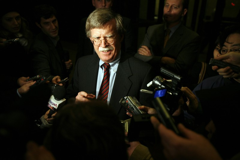 John Bolton, then-U.S. ambassador to the United Nations, speaks to the media at the U.N. in New York on Nov. 13, 2006. (Michael Nagle/Getty Images)