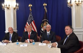 U.S. National Security Advisor H.R. McMaster, President Donald Trump, Vice President Mike Pence, and CIA Director Mike Pompeo at Trump's Bedminster National Golf Club in New Jersey on Aug. 10, 2017. (Nicholas Kamm/AFP/Getty Images)