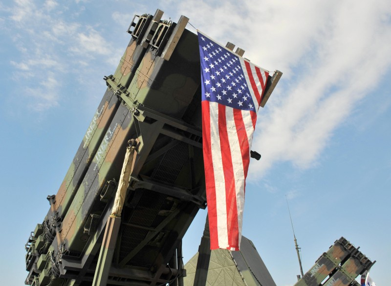 A Patriot Surface-to Air missile system displayed at the US airbase in Osan, south of Seoul on Oct. 12, 2008. (KIM JAE-HWAN/AFP/Getty Images)