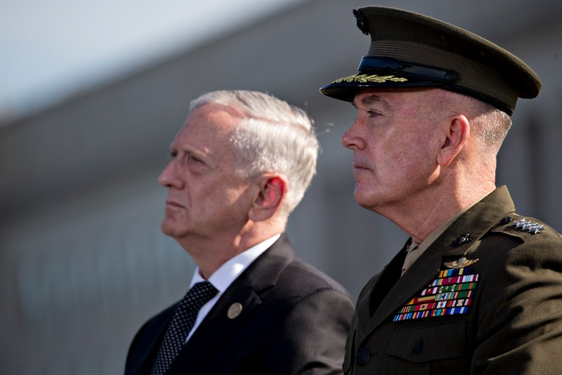 U.S. Defense Chariman Jim Mattis and Chairman of the Joint Chiefs of Staff Joseph Dunford attend a ceremony to commemorate the September 11, 2001 terrorist attacks at the Pentagon September 11, 2017 in Washington, D.C.  (Andrew Harrer-Pool/Getty Images)