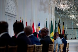 President Donald Trump speaks before a luncheon with African leaders at the U.N. General Assembly in New York on Sept. 20, 2017 in New York. (Brendan Smialowski/AFP/Getty Images)