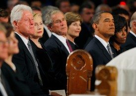 Bill Clinton, Hillary Clinton, George W. Bush, and Barack Obama at the Basilica of Our Lady of Perpetual Help in Boston on Aug. 29, 2009. (Brian Snyder-Pool/Getty Images)