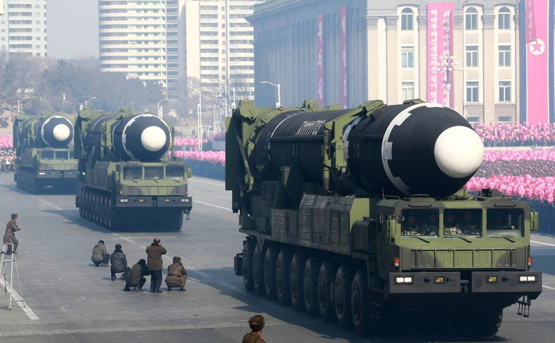 Hwasong-15 ballistic missiles on display during a military parade in Pyongyang, North Korea, on Feb. 8. (KCNA via KNS/AFP/Getty Images)