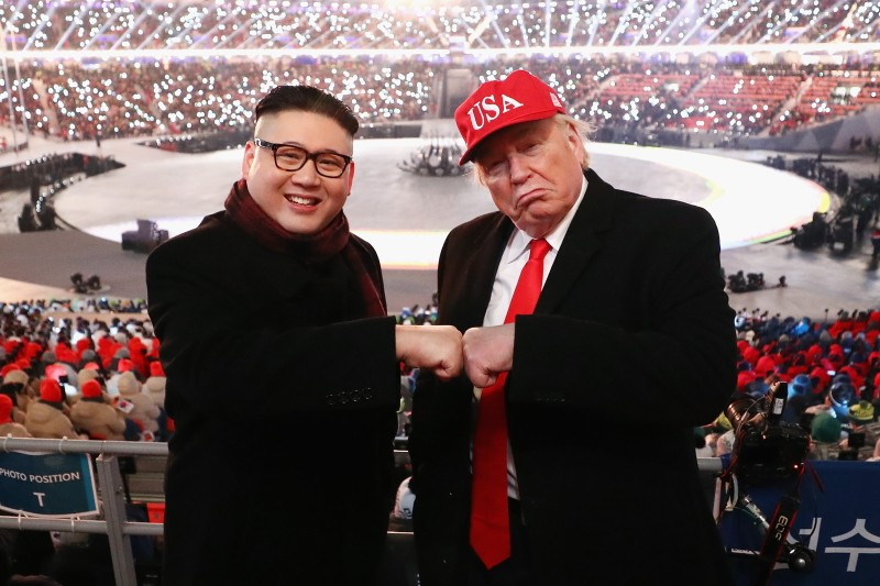 Impersonators of Donald Trump and Kim Jong Un pose during the Opening Ceremony of the PyeongChang 2018 Winter Olympic Games.  (Ryan Pierse/Getty Images)