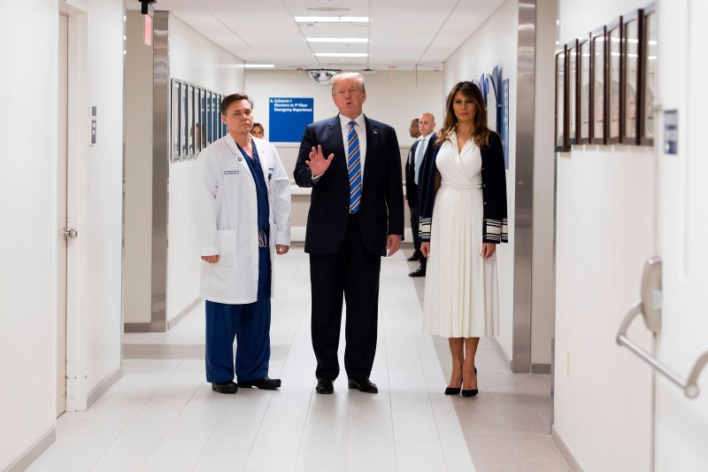 U.S. President Donald Trump and first lady Melania Trump visit Broward Health North hospital in Pompano Beach, Florida, on Feb. 16. (Jim Watson/AFP/Getty Images)