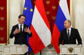 Russian President Vladimir Putin and Austrian Chancellor Sebastian Kurz after their talks at the Kremlin in Moscow on Feb. 28, 2018. (GRIGORY DUKOR/AFP/Getty Images)