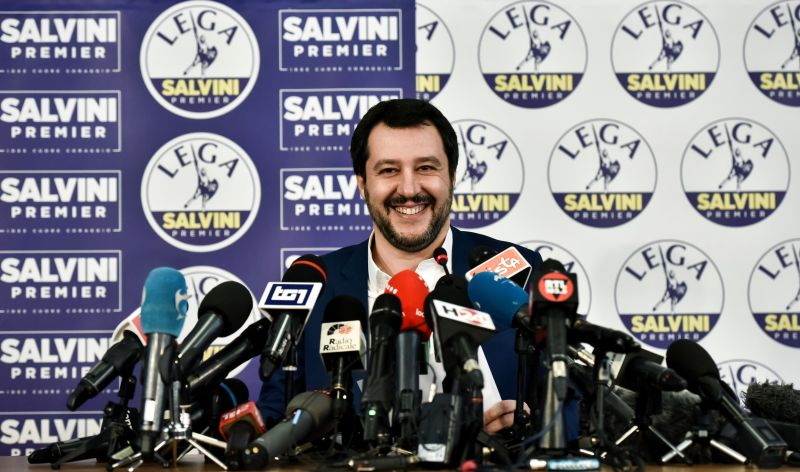 Lega far right party leader Matteo Salvini smiles at the Lega headquarter in Milan on March 5, 2018. (PIERO CRUCIATTI/AFP/Getty Images)