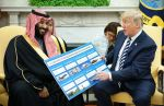 President Donald Trump presents a defense sales chart with Saudi Crown Prince Mohammed bin Salman at the White House on March 20. (Mandel Ngan/AFP/Getty Images)