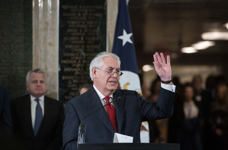 Outgoing U.S. Secretary of State Rex Tillerson gives a farewell address to State Department staff in Washington on March 22. (Nicholas Kamm/AFP/Getty Images)
