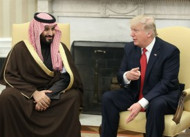 President Donald Trump meets with Mohammed bin Salman, then deputy crown prince, in the Oval Office on March 14, 2017.