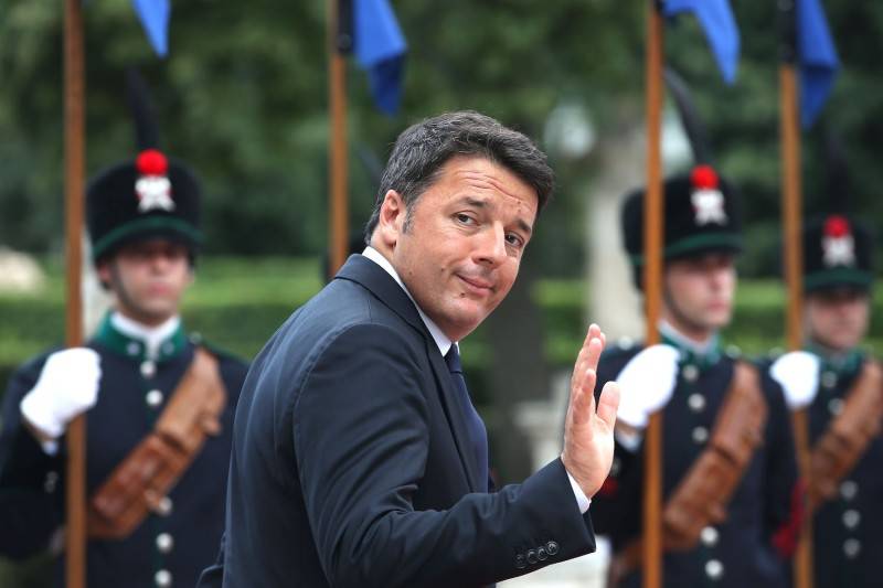 Italian PM Matteo Renzi waved as he received UK Prime Minister, Theresa May at Villa Pamphili, on July 27, 2016 in Rome.