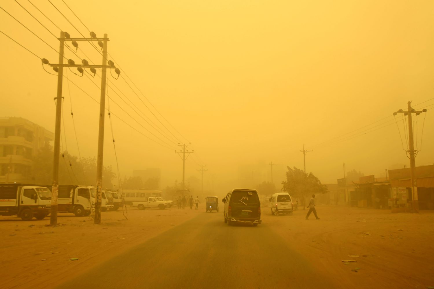 This picture taken on March 29, 2018, shows the dust storm in Khartoum A thick sandstorm engulfed the Sudanese capital on Thursday, forcing authorities to cancel flights and shut schools in Khartoum and other nearby towns. / AFP PHOTO / ASHRAF SHAZLY        (Photo credit should read ASHRAF SHAZLY/AFP/Getty Images)
