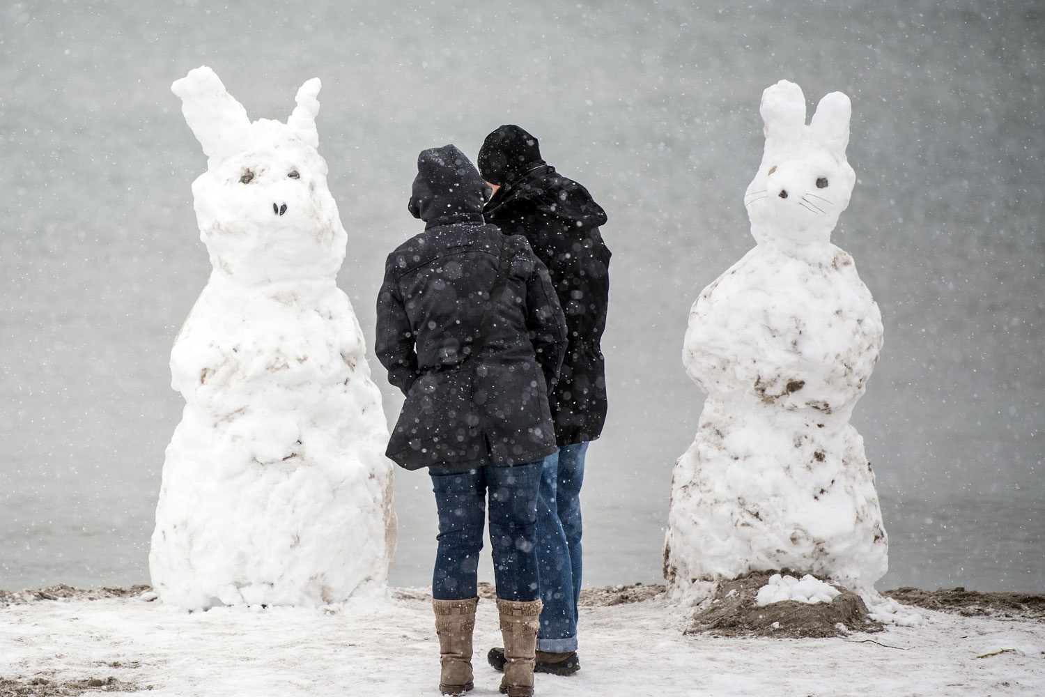 The Easter bunny arrives as a snowy pair on the island of Fehmarn, northern Germany, on April 1. (Federico Gambarini/AFP/Getty Images)