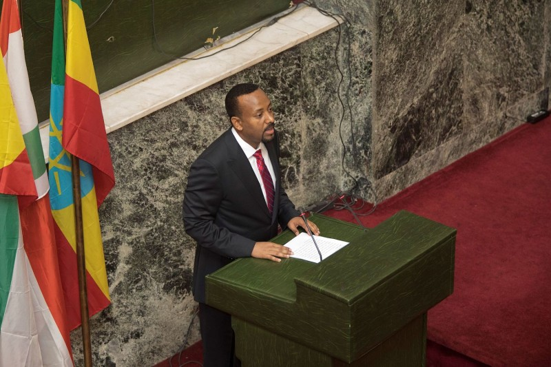 Abiy Ahmed, newly elected Prime Minister of Ethiopia, addresses the house of Parliament in Addis Ababa, after the swearing in ceremony on April 2, 2018.