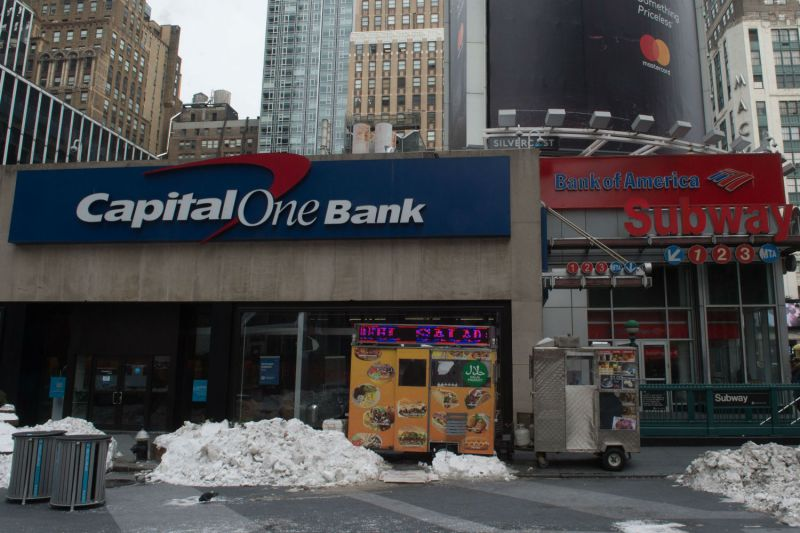 A Capital One bank and Bank of America are seen side bye side near Penn Station in New York on January 8, 2018 in New York. (Bryan R. Smith/AFP/Getty Images)