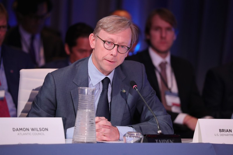 Brian Hook, the director of policy planning at the U.S. State Department, speaks at the Concordia Annual Summit in New York on Sept. 19, 2017. (Paul Morigi/Getty Images for Concordia Summit)