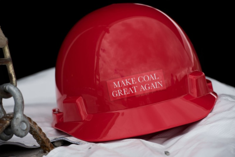 "A hard hat with the slogan ""Make America Great Again"" printed on it at the newly opened Acosta Deep Mine in Somerset County, Pennsylvania, on June 8, 2017. (Justin Merriman/Getty Images)"