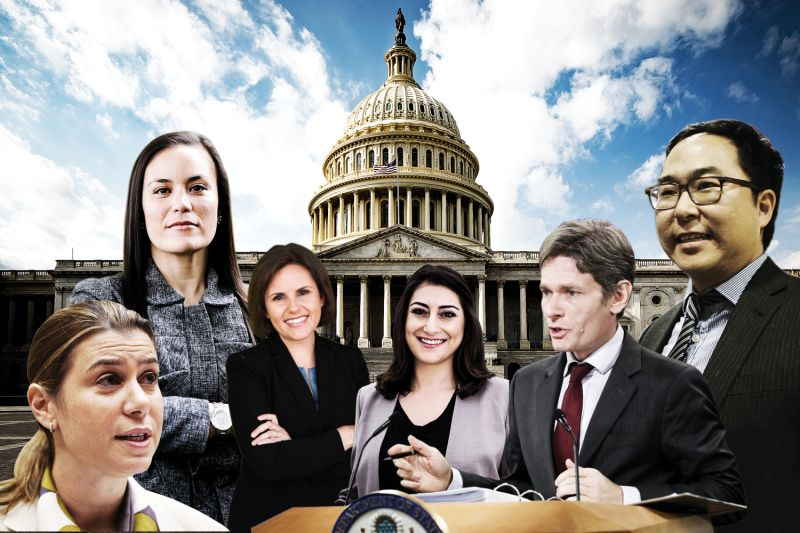 Congressional candidates Elissa Slotkin, Gina Ortiz Jones, Regina Bateson, Sarah Jacobs, Tom Malinowski, and Andy Kim. (Mandel Ngan/AFP/Getty Images/Ana Isabel Photography/Regina Bateson campaign/Tom Malinowski campaign/Chip Somodevilla/Getty Images/Andy Kim campaign/Foreign Policy illustration)