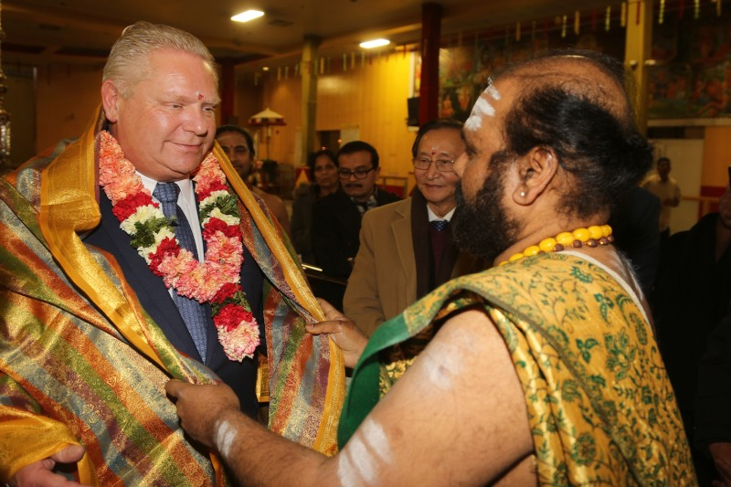 Doug Ford was honored and received a special blessing at a Tamil Hindu Temple after meeting with members of the Tamil community in Scarborough, Ontario, Canada, on Sunday February 11, 2018.