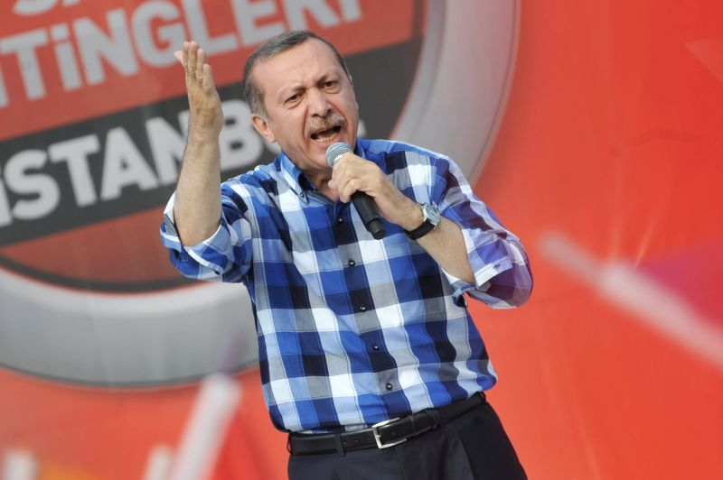 Recep Tayyip Erdogan makes a speach to supporters during a rally on June 16, 2013, in Istanbul. (OZAN KOSE/AFP/Getty Images)
